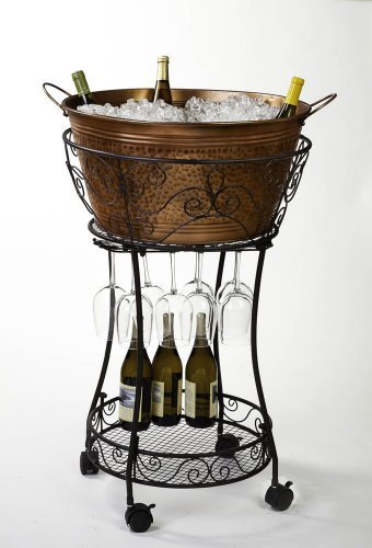 Hammered Faux Copper Chiller With Wine Glass Storage And Shelf By Evergreen Enterprises, Inc