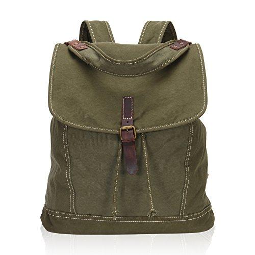Imagen de veevan  grande / bolso al hombro de lona con correa de cuero genuino militar  alternativa