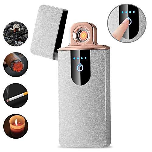 Briquet Original Pas Cher - Briquet électrique USB Rechargeable Pas Cher - Briquet Homme Original - Détection D'empreinte Digitale Tactile Ultra-Mince Créative - 7.3x3x0.7CM - Argent givré