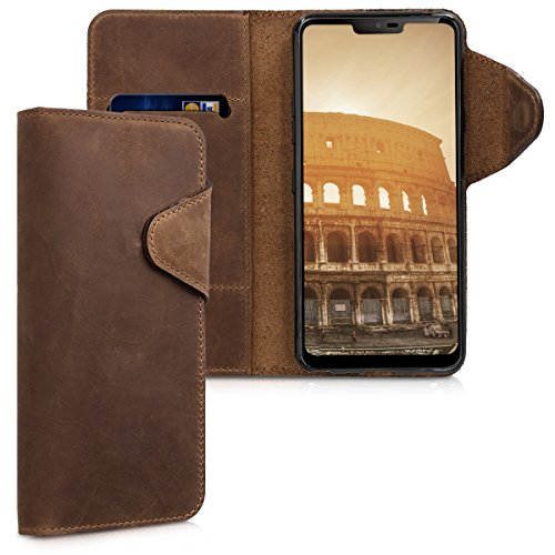 kalibri LG G7 ThinQ/Fit/One Hülle - Leder Handyhülle für LG G7 ThinQ/Fit/One - Braun - Handy Wallet Case Cover