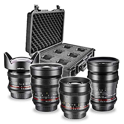 Walimex Pro Vidéo et Photo Objectif Set FF Basisset pour Sony E-Mount baïonnette (35mm 1: 1.5 lentille, 85 mm 1: 1,5 lentille, objectif grand-angle 14 mm 1: 3.1, 24 mm 1: 1,5 lentille et du boîtier de la lentille)