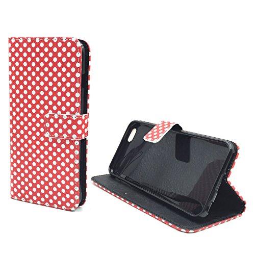 König-Shop - Handyhülle Schutz Tasche Case Cover Wallet Kunstleder 360 Grad Standfunktion, Farbe:Smile, Größe:Apple iPhone 6 / 6s Plus Polka Dot Rot