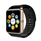 Montre Connectées,Willful Montre Téléphone Smart Watch Bluetooth 4.0 avec Carte Sim / TF Slot,Camera,Écran Tactile,MP3,Réveil,Appel / SMS / Twitter / Facebook / Whatsapp Remarquer pour Android Samsung Sony HTC Huawei (Fonctions complètes),iPhone IOS (Fonctions partielles), Montre Sport (Podomètre,Sommeil,Compteur de Calories) pour Femme Homme Or...