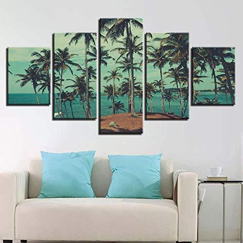 Bilder Auf Leinwand Dekorative Malerei Kunst Gedruckt Moderne Palme Strand Meer Landschaft Landschaft Muster Kunst 5 Stück Wandkunst Für Wohnkultur Das Bild Druck Auf Leinwand