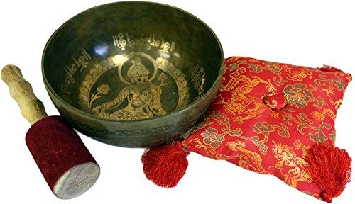 En laiton doré Tara – Ensemble bol chantant spécial. Bol : D : 190 mm H : 80 mm ; Coussin : 140 x 140 mm ; Stick : L : 180 mm. Un cadeau parfait – Idéal pour les anniversaires, Noël, etc.