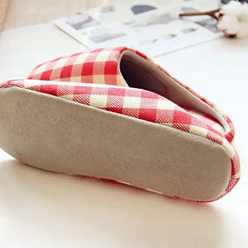 Fortuning's JDS Unisex adulti coppia accogliente cotone Casa Calzature stile semplice Reticolo confortevole Flatform pantofole Rosso