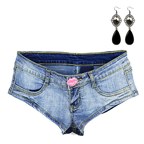 Sitengle Damen Denim Jeans Shorts Hot Pants Low Waist Side Straps Lochjeans Kurzschlüsse Blau 2 S