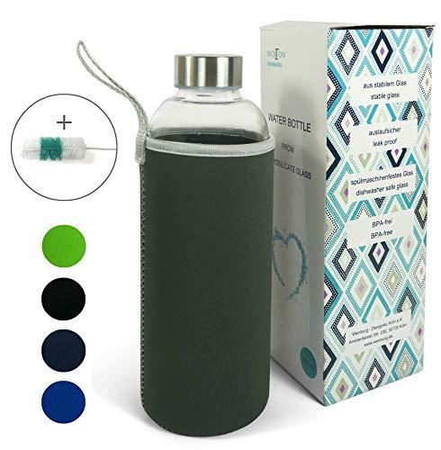Wenburg Trinkflasche/Glasflasche mit Edelstahl Deckel Wolton 550 MLL / 750 ml Neopren Hülle. Sportflasche/Wasserflasche aus Glas. Für Unterwegs (grau, 0,75 l)