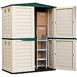 Starplast unidad de almacenamiento Caja de jardín de alto Cobertizo de plástico exterior sin óxido 5FT X 3FT 37–811–Verde y Beige