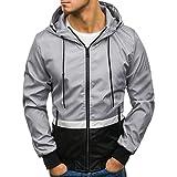 SEWORLD Herren Herbst Winter Sport Charm Herren Slim Fit Beiläufige Langarm Outwear Warmer Reißverschluss Taschen Fit Kapuzenjacke Mantel(H-f-grau,EU-48/CN-L)