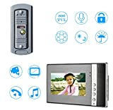Sistema citofono campanello videocitofonico,Sistema citofono con telecamera da 7 pollici a 2 monitor per casa unifamiliare, pulsante a sfioramento, visione notturna
