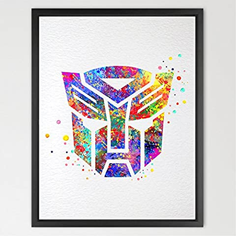 dignovel Studios Transformers Autobots Symbol Aquarell Art Print Wall Art Poster Kids Room Decor Wand aufhängen Geburtstag Geschenk Jungen Spielzimmer oder Décor n315-unframed