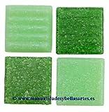 MosaixPro 200g 20x 20x 4mm 63-Piece Glas Fliesen, Grün Mix