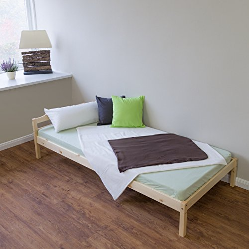 Homestyle4u 888 Zingst Holzbett Tagesbett Gästebett aus Kiefer B x L: 90 cm x 200 cm Bettrahmen mit Lattenrost in Natur mit natürlicher Maserung Holz Bett aus Massivholz Jugendbett mit Bettgestell und Kopfteil