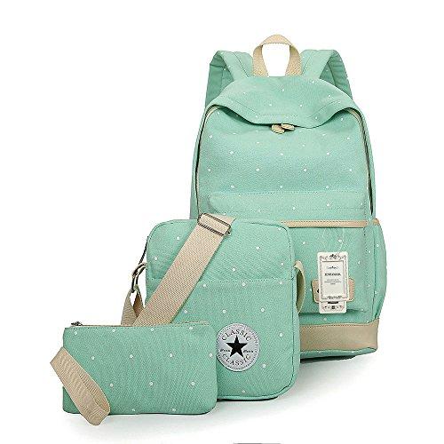 ZUNIYAMAMA 3 Set leichte Mini Leinwand Rucksack + Schultertaschen + Geldbörse für Teen Mädchen Laptop Schule Tasche