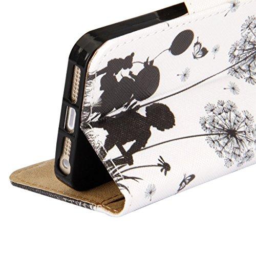 Etsue für Apple iPhone SE/iPhone 5S Blau Anker Streifen Leder Brieftasche Case Hülle Muster, Bunte Retro Painted Wallet Flip Case Cover Leder Case Tasche Bookstyle Lederhülle Magnetverschluß Standfunk Löwenzahn Liebe