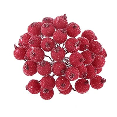 Pack of 200pcs Mini Christmas Frosted Fruit Berry Holly Artificial Flower Decor 14 Colors