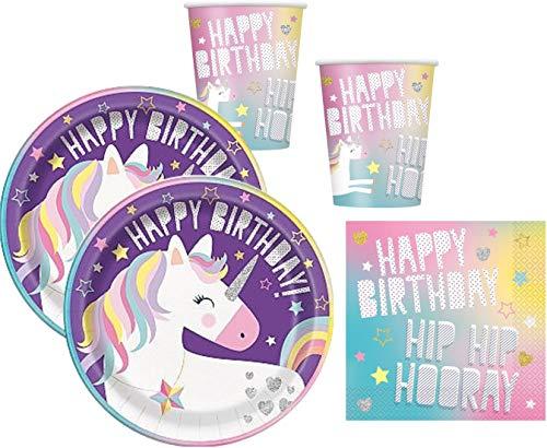 WOK 48-Teiliges Party Set Einhorn Rainbow Unicorn - Teller Becher Servietten für 16 Kinder (Teller Rainbow Servietten Und)