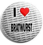 """Spilla grande con scritta""""I Love Bratwurst"""", 75 mm, regalo per compleanno, Natale, calza della Befana."""