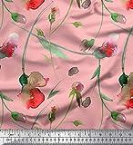 Soimoi Rosa Seide Stoff süße Erbsen-Blätter Aquarell