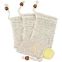Depory 4 PCS Bolsa de jabón Red de jabón Bolsa de jabón de sisal natural Para espumar y secar jabones Exfoliación Masaje Bolsas de jabón con cuerda