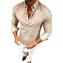Blusa de Hombre, BaZhaHei, Camisetas de Manga Larga con Solapa a Rayas de los Hombres Polo de Traje de Hombre Fit Formal de Manga Larga con Botones a Rayas ...