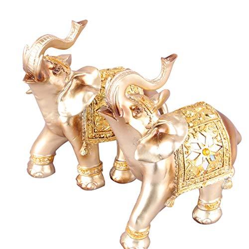 (qucaojun Europäische Gold Elefant Figuren Harz Handwerk Wohnkultur Kreative Elefanten Miniatur Wohnzimmer Ornamente Geschäft Hochzeitsgeschenke)
