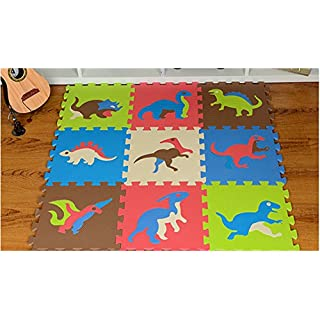 Abaobao Children's Interlocking Foam Puzzle Mat for Garages, Laundry Rooms, Bedrooms, Nurseries, Play Areas, Games Rooms or Gardens, Dinosaures, 30_x_30_cm