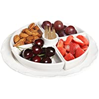 Classic French Inspired 6 piece White Ceramic Fruit Server Tray / Snack Serving Platter - MyGift® by MyGift