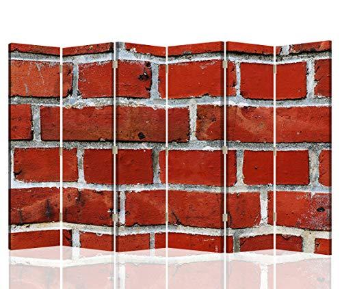 Feeby Foto Biombo Muro Ladrillos 6 Paneles Unilateral Abstracto Rojo 2
