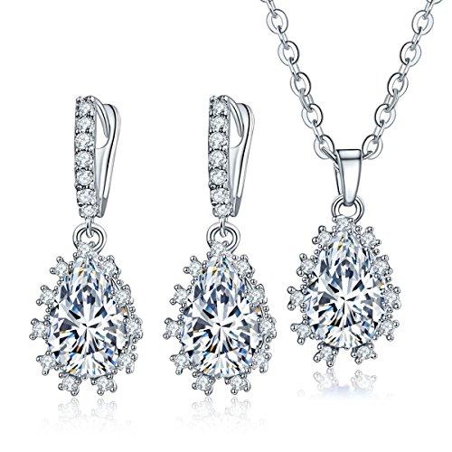 CARSINEL Clásica Circonita Cúbica Compromiso Conjuntos de joyas para las mujeres regalos lágrima de collar y pendientes (blanco)