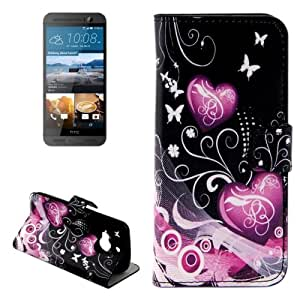 Crazy4Gadget Heart Pattern Leather Case with Holder & Card Slots & Wallet for HTC One M9+