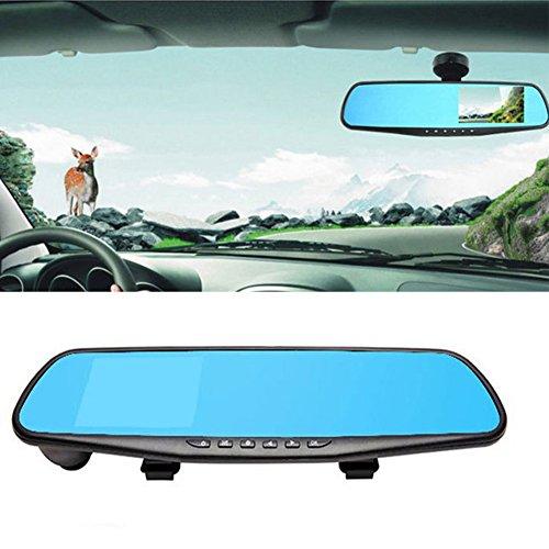 Ghair2 Spiegel-Dashcam, 10,9 cm (4,3 Zoll) LCD HD 1080P Auto Videokamera Rückfahrkamera Fahrzeug Fahraufzeichnung, G-Sensor, Infrarot-Nachtsicht, Parkmonitor G-sensor Fahrzeug