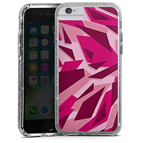Apple iPhone X Bumper Hülle Bumper Case Glitzer Hülle Pink Camouflage Muster Bumper Case Glitzer silber