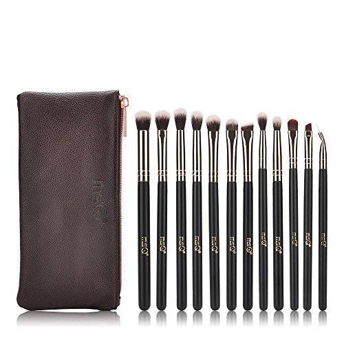 MSQ Lidschatten Pinzette 12 Stück Roségold Augen Make-up Pinsel Set mit Tasche (PU Ledertasche) Weiche natürliche Augenpflege für Lidschatten, Augenbraue, Eyeliner, Blending - Roségold