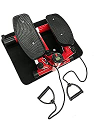 Style home Mini Stepper Powerful Fitness Hometrainer incl. Traningsbänder Display (Rot)