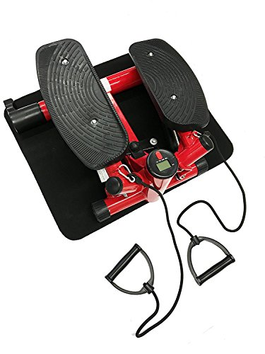 Style home® Stepper powerful stepper Mini Stepper Fitness stepper incl. Traningsbänder Display rot