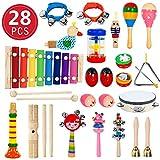 28 Stück Musikinstrumente Holz Percussion Set Schlagzeug Schlagwerk Spielzeug Set Kinder Schlaginstrument Musikalisches Vorschulunterricht Pädagogisches Xylophone Osterei für Mädchen und Jungen