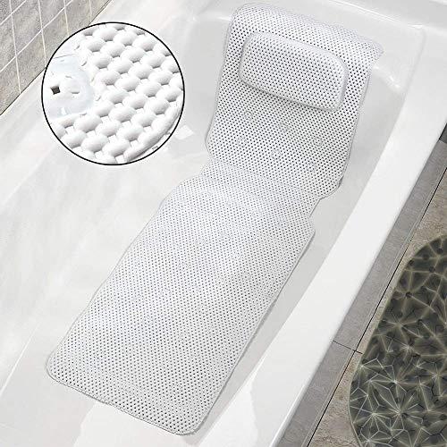 Filfeel Bath Pillow, Ganzkörper-Badekurort-Bad-Kissen-Kissen-Kissen Weiche gesteppte Badewannen-Matte mit Breathable
