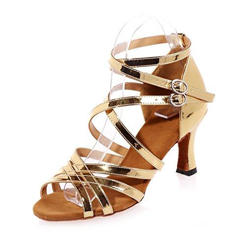 L@YC Scarpe Donna Belly / Latino / Cuoio Moderno / Sequins Scintillanti / altezza Tacco Da 7,5 Cm Yellow