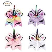 Ailyoo Hair Bows with Elastic Band for Cheerleader Girls/4 Pack Cartoon Unicorn Sequins Prevents Hair Ring Girls Hair Bows for Cheerleader Girls