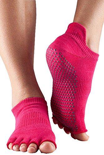 ToeSox-Hommes-et-1-paire-Half-Toe-Organic-Cotton-Low-Rise-Yoga-Chaussettes-de-femmes-en-noir