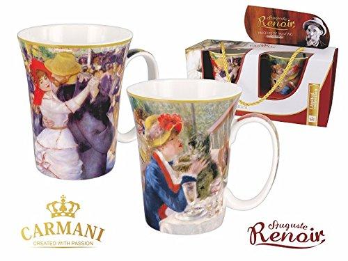 Renoir 2 schöne Tassen Becher Tanz und Frühstück der Ruderer Carmani Art Gallery