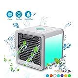 Luftkühler Elektrischer Ventilator, CaseLover Praktischer Luftreiniger Tragbare Mini Klimaanlage USB Luftkühler Lüfter für Home Office im Freien - Einstellbare 7 Farbe LED-Licht, 3 Ventilationsstufen