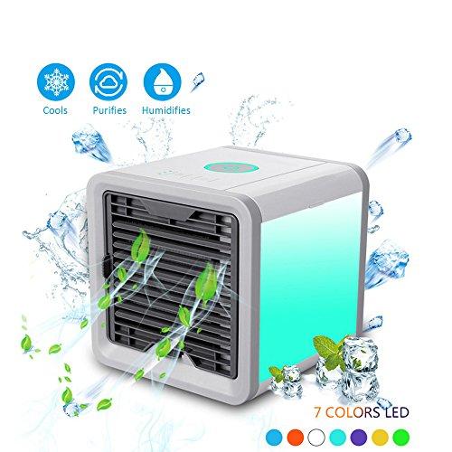 Mosoris Praktischer Luftkühler Elektrischer Ventilator Luftreiniger Tragbare Mini Klimaanlage Luftbefeuchter Luftfilter Nachtlicht Home Office Appliance mit 3 Kühlstufen Einstellbare 7 Farbe LED-Licht