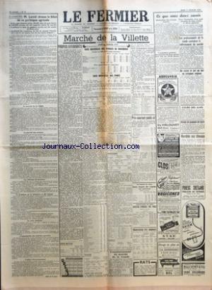 FERMIER (LE) [No 12] du 11/02/1954 - A CHARTRES M LANIEL DRESSE LE BILAN DE SA POLITIQUE AGRICOLE LA CRISE VITICOLE LE MARCHE DE LA VIANDE LE MARCHE DES CEREALES LES REFORMES DE STRUCTURE LE PROBLEME DE LA BETTERAVE ET DE L'ALCOOL LE PLAN CEREALIER L'ORGANISATION DES MARCHES AGRICOLES L'EFFORT D'INVESTISSEMENT MARCHE DE LA VILLETTE COTE OFFICIELLE DES ANIMAUX DE BOUCHERIE COURS AU KILO NET COURS MOYEN PRIX APPROXIMATIFS MOYENS COTE OFFICIELLE DES PORCS PROPOS EFFARANTS PAR J L G