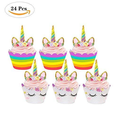 e Toppers 24 Stücke, Unicorn Kuchen Dekoration für Geburtstag, Party (Cupcakes Steht)
