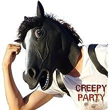 CreepyParty Máscara de Cabeza Animal de Látex de Fiesta de TrajeLujo de Halloween de Novedad Caballo