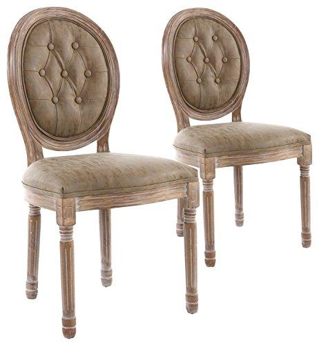 Menzzo–set di 2sedie di stile medaglione louis xvi capitonnè, legno, legno anticato e finta tortora, 51x 51x 72cm