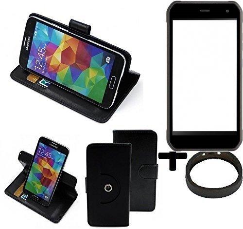 K-S-Trade® Hülle Schutzhülle Case Für -Cyrus CS 40- + Bumper Handyhülle Flipcase Smartphone Cover Handy Schutz Tasche Walletcase Schwarz (1x)